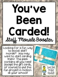 You've Been Carded! ~ A Great Staff Morale Booster ~ FREEBIE!