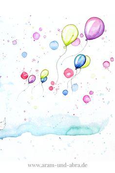 Illustration Aquarell Luftballons. Gemalt von Aram und Abra | www.aram-und-abra.de