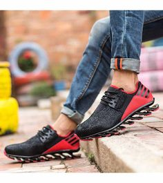 Men's #black red leather runing shoe #sneakers snake skin pattern, casual sport, athletic, running occasions, breathable, Blade-Sole unit helps absorb impact.