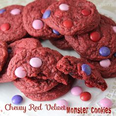 Chewy Red Velvet Monster Cookies | Famished Fish, Finicky Shark