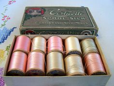 Vintage Box of CORTICELLI Spools of Silk Thread