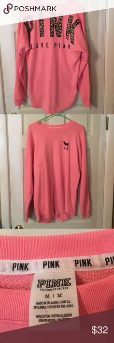 VS Pink Long Sleeve Excellent condition! Size medium, can fit a large, runs oversized! Lettering is on the backside! PINK Victoria's Secret Tops