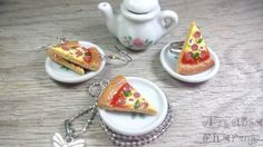 Pizza Collection, Miniature Food Jewelry, Polymer Clay Food Necklace, Food Charms, Pizza, Fast Food