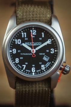Bertucci A2T Original Classics Watch - Black Dial with Olive Nylon Band