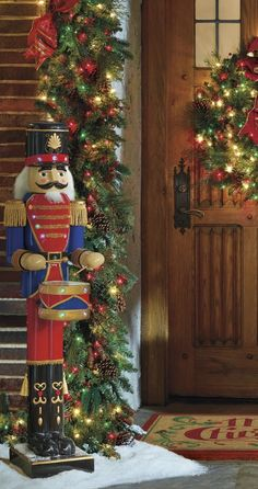 Like a toy soldier come to life, our remote-controlled 5-foot Nutcracker Drummer stands ready to entertain.