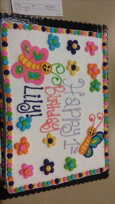 Butterflies And Flowers Sheet Cake
