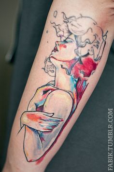 Watercolor Lady Tattoo by Fabi Liedmeier in Düsseldorf, Germany *****