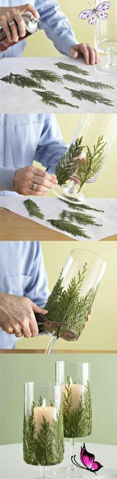This DIY Evergreen Candle Will Make Your Holidays Even Brighter Beautiful! Great DIY craft for the holidays. Use nature products to decorate household items.<br> Take a pretty glass container, glue bits of greenery around it, and set candles inside to combine the freshness of greenery with the welcoming warmth of candlelight. Christmas Time, Xmas, Christmas Leaves, Fall Leaves, Christmas Photos, Christmas Stuff, Christmas Ideas, Merry Christmas, Diy Y Manualidades