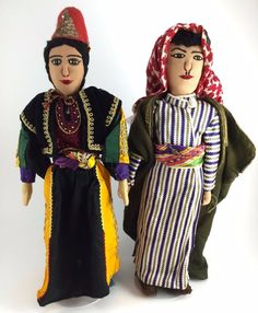 Vibrant Pair of Vintage Palestinian Refugee Dolls Tagged Arab Middle Eastern
