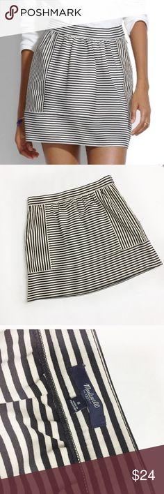 """Madewell Black Ponte Swivel Stripe Skirt Madewell. Size Small. Ponte Swivel Skirt in Stripe. This stretchy striped skirt with soft gathers is a dream paired with tees, sweaters and chambray shirts. Consider your what-to-wear problems solved.Short, straight mini.17"""" long.Viscose/nylon with a hint of stretch.All garments are shown on a size Medium woman's dress form. All measurements are taken unstretched; Waist-   14"""" Hips- 17"""" Length-  17"""" . Preowned. Madewell Skirts Mini"""