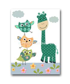 Kids Art for Kids Room Kids Wall Art Baby Boy Nursery Baby Boy Room Baby Nursery decor print set of 3 blue green giraffe owl decoration childrens artwork *** UNFRAMED - THIS PRINT IS ON PAPER OR ON CANVAS *** To return to my shop, click here: http://www.etsy.com/shop/artbynataera Set of 3 print in inches . Theres an extra 1/8 in. white border around the print to ease framing.IMPORTANT: This is a print made on matte photo paper that will need to be framed. ● SIZE FOR EACH PICTURE : A4 = 8,...