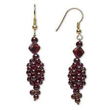 Handcrafted India Raw Brass and Garnet Gemstone Bead Clusters 54mm Long Earrings