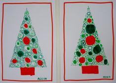 Voici une carte de Noël toute simple et rapidement faite avec les élèves de ma classe de moyenne section: Il vous faut du papier Can...