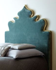 """Vanessa"" Upholstered Headboard at Horchow - this is exactly the shape I have had in my mind for making a headboard for my bed out of an old carpet. Velvet Headboard, Queen Headboard, Teal Headboard, Cool Headboards, Headboard Ideas, Upholstered Headboards, Headboard Shapes, Traditional Interior, Decorating Blogs"