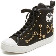 Moschino Chain Sneakers (270 CAD) ❤ liked on Polyvore featuring shoes, sneakers, black, black hi top sneakers, black high top shoes, lace up sneakers, black leather shoes and black leather high tops
