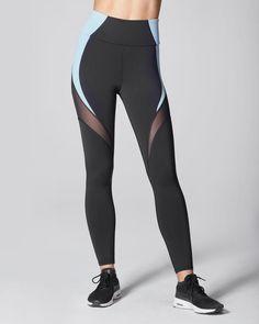 a7004529d6a3e9 Glow High Waisted Legging - Black/Sky Slim Legs, Mesh Panel, Black Leggings