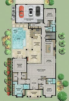 Every Bedroom a Private Suite Floor Master Suite Butler Walkin Pantry CAD Available Loft PDF Split Bedrooms Architectural Designs Florida House Plans, Pool House Plans, Courtyard House Plans, New House Plans, Dream House Plans, Modern House Plans, L Shaped House Plans, Atrium House, Unique House Plans