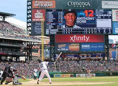 Anthony Gose, DET, at bat in home opener v NYY//April 8, 2016