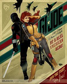 GI Joe - Snake Eyes & Scarlett recruiting poster by Ant Lucia