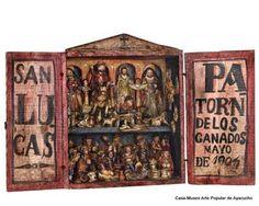 El  Retablo ayacuchano (Ayacucho, departamento del Perú) tiene su origen en época de la colonia, cuando los sacerdotes españoles en el proceso de evangelización  de los pueblos del Ande, llevaban consigo unos cajones con imágenes religiosas.  Durante la década de 1940, los artesanos comienzan a incorporar escenas con motivos costumbristas y el cajón deja de ser netamente religioso, el pueblo ayacuchano lo hace suyo incorporándolo a su artesanía y poniéndole el nombre de retablo.