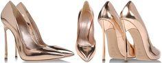 Casadei Spring 2014 Mirrored Rose Gold Blade Pointed-Toe Pumps - Buy Online - Designer Pumps