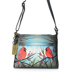 Anuschka Hand-Painted Leather Zip Top Crossbody Bag w/ Card Holder