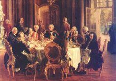 Foto: Voltaire, a la izquierda, en la corte de Federico II, autor del célebre lema del despotismo ilustrado Todo para el pueblo, pero sin el pueblo. (Adolph von Menzel, 1850)