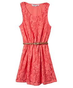 Belted Lace Dress.  Just bought a white one like this... cute... now I need a colored belt for it!