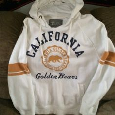 """University Gold Bears Hoodie University Golden Bears Hoodie In Excellent Condition No Stains String On Hoodie Attached Size """"XL"""" White with Logo On Front Nothing On Back Woman's University Tops Sweatshirts & Hoodies"""