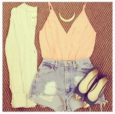 tank top top crop tops v neck. sweater peach denim High waisted shorts cardigan blouse pink shoes nude sexy v-neck t-shirt coat shirt summer top coral shorts cut off shorts necklace silky, pretty gold roze. blue white too jeans crop tops live life laugh peace summer outfits winter outfits beauty beautiful