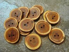 14 Yew Wood Tree Branch Buttons.  About 1.25 by PymatuningCrafts, $8.40