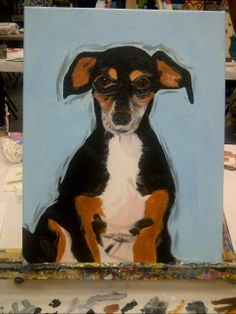 This is a painting I did for my sister of her min pin, Dobbie.  I displayed it at her wedding as a surprise along with one of her beloved beagle, Elvis, who passed away earlier that same year.  It was a nice surprise present that she loved.  You can paint your pet somewhere like I did, Uptown Art.....they put the outline on and you look at the picture to paint and make your pet come to life.