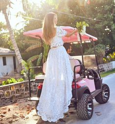 """Loveshackfancy 🎀 on Instagram: """"The only way to travel 💖 Our white lace Halsey skirt and Soleil top, island style🌴"""" Coat Dress, Jacket Dress, Romper Pants, Blouse Outfit, Tank Top Shirt, Wedding Bells, Short Skirts, Foto E Video, White Lace"""