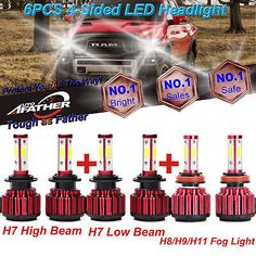 xFor Ram 1500 2500 3500 1200W H7-H7-H11 LED Headlight Hi Low Beam-Fog Bulbs Kit2  Manufacturer Part Number - Does Not Apply, Interchange Part Number - Use For High Beam,Low Beam,DRL,Fog Light and so on, Other Part Number - 6000K(Xenon HID Pure White) Head Light Lamp Bulbs, Warranty - 5 Year, Application - Car,Truck,Motorcycle Bike,Boats,other vehicles, Beam Angle - 360 Degrees, External Testing Certification - CE   Rohs   DOT, Color Temperature - 6000K, Package includes - 6x LED Head