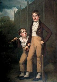 Mawdisty Best and His Brother outside Rochester Cathedral  by John Opie   Date painted: c.1800  From the mid-18th century, it was fashionable to have portraits of young boys painted dressed for cricket. Portrait cricket convention was trousers or breeches worn with white stockings and black shoes, teamed with a waistcoat and contrasting tailcoat.