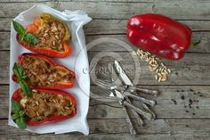 Tuna fish stuffed #peppers on cooking paper, pine seeds, black pepper seeds and bell pepper, overhead shot. #FOODPORTFOLIO #FOODPHOTOGRAPHY #FOODPHOTOGRAPHER #FOOD