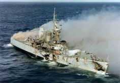 HMS Leander, sunk as part of a naval exercise after being decommissioned. Hit by a Sea Dart, Exocets and a gravity bomb. A good Geordie built ship. Royal Navy Frigates, Scale Model Ships, Navy Day, Capital Ship, Falklands War, Abandoned Ships, Naval History, Royal Marines, Military Art