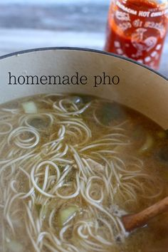 Homemade Chicken Pho - you can use beef too. My husband loves this. The sirachi is a must!! Yum:)