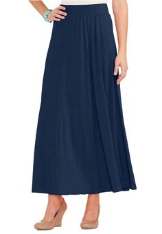 Solid Panel Maxi Skirt-Plus Skirts Cato Fashions