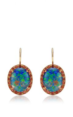 Andrea Fohrman Unique Australian Oval Opal Doublet Earrings with Orange Sapphires