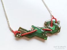 Necklace, recycled circuit board, gift for her, geeky jewelry, minimal, nerd, techie, computer, engineer, handmade, modern, FREE SHIPPING
