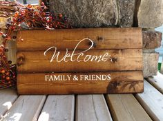 Welcome Distressed Wood Sign Rustic Country by 3LittleDragonflies, $48.00 But I would like it with more rustic writing in paint
