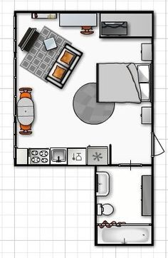One room living layout