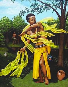 ✯ Our Beloved Goddess Oshun .. As Illustrated Carla Nickersen ..  Peep the Peacock Feather✯  Art - Goddesses, Muses