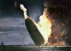Hindenburg Disaster Colourised