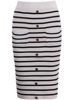Apricot Buttons Striped Split Skirt - Sheinside.com