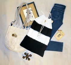 Thursday Team Trivia Ginny Tote by Latico $218 Framed Burlap Wall Plaque by Creative Co-op $20 Iron Jack by Creative Co-op $18 Double –Sided Hem Tape by Bristol 6 $11 Prima – Interface Jeans by AJ $198 Black and Cream Tie Dye Sleeveless Top by Bailey 44 $151 Blown Glass Earrings by Olivia Rae $36 Grey Pearl Spear Pendant Necklace by Isobel $158