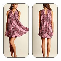 Arriving soon! Pink/Berry/Plum swing tunic! Stunning colors in a boho chic pattern with a keyhole front and light pleating in a swing cut! Gorgeous! Tops Tunics