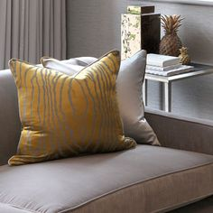 HUSH Design | Instagram @hushdesignuk Gold & yellows are perfect for warming up a silver/grey room.