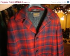 Sale Vintage 60's Pendleton Plaid heavy wool Blue & by Simplemiles, $75.00